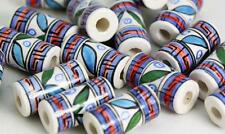 Geometrical tube   Glazed Beads   Hair Beads or Crafts     V026cb  X 10 BEADS