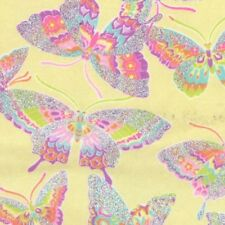 Fabric Butterflies Rainbow Pastel Sparkle on Yellow Flannel by the 1/4 yard BIN