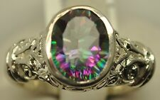 2.73CT MYSTIC QUARTZ THICK STERLING SILVER FILIGREE RING AWESOME GEM SIZE 8
