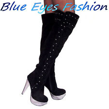 Lujo tacón alto overkneestiefel fiesta zapatos botas de diseño negro Gr. 36