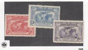 AUSTRALIA (MK6808) # 111-112,C2 VF-MH/2THIN 2-3,6p KINGSFORD SMITH FLIGHT CV $15