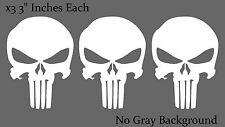 Punisher Skull Reflective White Bumper Window Helmet Decal Stickers Pack Lot 3