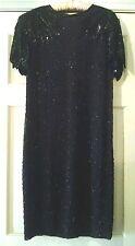 Silk Studio Morgan Taylor 100% Silk Jet Black Beads Sequins Lined Dress 8 OR S/M