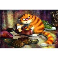 Modern Russian Postcard Gift Cleaning Blue Cats Kitty Kitten Unposted Art Zenyuk
