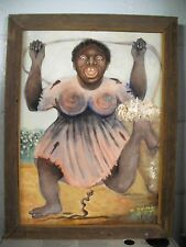 ANTIQUE/VINTAGE Original W.WALKER FRAMED BLACK FOLK ART OIL PAINTING SIGNED!!!