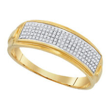 Mens 5 Row .25ct Diamond Wedding Band Yellow Gold over Sterling Silver Ring