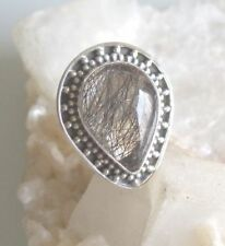 Ring mit Turmalinquarz Quarz, 925er Silber, Gr. 18,8 -Turmalin - Rutil -