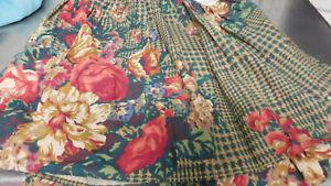 Catherine by Ralph Lauren Full Bedskirt Dust Ruffle 100% Cotton-Plaid & Florals