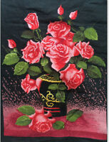 """New completed finished cross stitch""""Red flowers vase""""home decor gifts"""