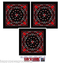 Lot of 3 USA MADE TRIBAL Flame Tattoo BLACK&RED BANDANA HEAD BANDANNA Scarf