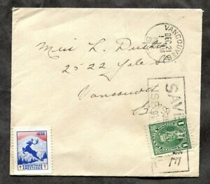 p1222 - VANCOUVER 1938 Christmas Seal on Local Cover - 1c Mufti