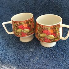 (2) VINTAGE HOLT HOWARD PEDESTAL CUPS WITH PICTURES OF COLORFUL FRUIT & NUTS