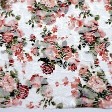 White/Coral/Green/Red Stretch Lace Dress Fabric  #10WE10B