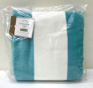 "NEW Pottery Barn Reversible Awning Stripe 25x50"" Mini Beach Towel~AQUA & YELLOW"