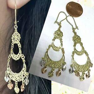 """GoLD earring chandelier 14k real Solid Heart Gypsy Filigree Long Big  2.40"""""""