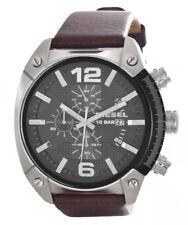 Diesel Men's Over Flow Grey Dial Leather Strap Chronograph Watch DZ4381