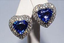 $58,000 15.03Ct Natural Sapphire & Diamond Heart Cluster  Earrings 18K WG