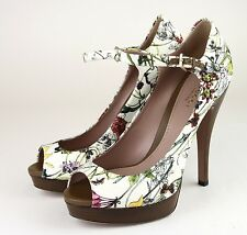 $695 New Authentic Gucci Lisbeth Floral Canvas Platform Pump Sandal,38/8,310082
