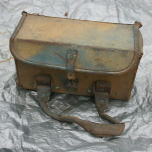 Military Leather Bag/Box with 2  carrying handles. 33xm x 18cm x 22cm.