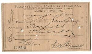 Pennsylvania Railroad Amboy Division NJ 1904 Trip Pass