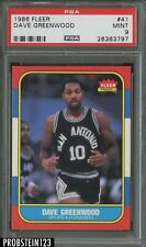 1986 Fleer Basketball #41 Dave Greenwood San Antonio Spurs PSA 9 MINT