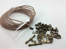 Leather Necklace Making Kit Bronze Plated Findings and 2m of Tan Peru Cord Thong