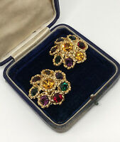 Large Vintage Clip On Earrings Multicoloured Faceted Glass Bold Fun Kitsch Bling