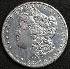 """1899-o Morgan Silver Dollar.  Micro """"o"""" mint mark.  A.U.  124714"""