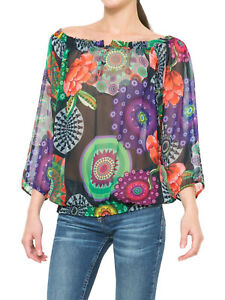 DESIGUAL Betsy Off-Shoulder Floral Smocked Top Sizes S,M,L,XL & XXL *Brand New*