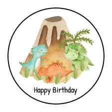 """30 1.5"""" DINOSAUR HAPPY BIRTHDAY BABY SHOWER FAVOR LABELS ROUND STICKERS***"""