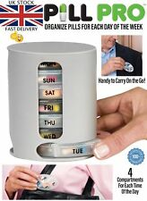 PILL PRO Pill Organiser Pill Box 7 Day Compartment Travel Vitamin Tablet Holder