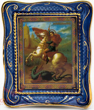 Orthodox Gzhel porcelain decal Icon St. Saint George Георгий Победоносец