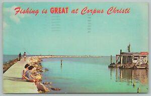 Corpus Christi Texas~Deep Sea Fishing~Couple Fishing On Pier~Vintage Postcard
