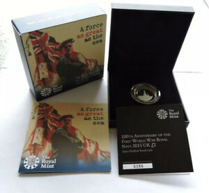 2015 Royal Mint Silver Proof Piedfort £2 Royal Navy Cased With COA And Outer