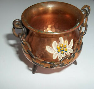 Vintage Copper Small Hammered Cauldron With Chain Handle-Marked Zurich