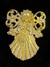 Beautiful Jane Davis AOL Angels of Love Angel Brooch Pin Signed Faux Pearl