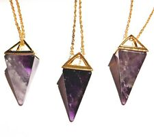 AMETHYST PENDULUM NECKLACE gold plated crystal pyramid point charm pendant 1W