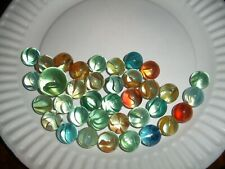 ESTATE Find 36 vintage Agate Cats Eye Marbles Cage Style all colors w Shooter