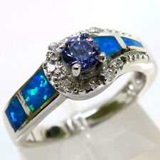 UNUSUAL TANZANITE BLUE OPAL 925 STERLING SILVER RING SIZE 7