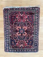 Antique Oriental Bag Face Rug w/ Floral Pattern Design Hand Knotted