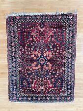 Antique Oriental Bag Face Rug w/ Floral Pattern Design Hand Knotted