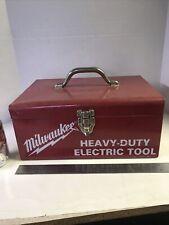 VINTAGE MILWAUKEE TOOL BOX HEAVY DUTY ELECTRIC RED TOOL METAL STORAGE CASE