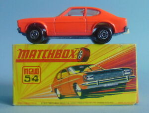 Vintage boxed Lesney Matchbox Superfast 54 pink with black bonnet Ford Capri