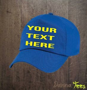 EMBROIDERY BASEBALL CAPS - Personalised with TEXT ONLY - Adult size