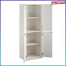 Kitchen Cabinet White Cupboard Pantry Storage 4Door Tall Organizer Wood Shelves