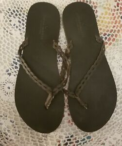 American Eagle Brown Braided Leather Flip Flops Sandal Women Size 10
