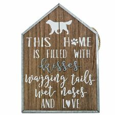 House Shaped Wooden Dog Sign Hanging Rope Wall Home Decor
