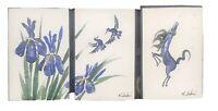 """3 VINTAGE HOITSU SAKAI IRIS, BIRDS, HORSE PRINTS - MATTED 7.5"""" x 5"""""""