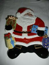 2004 Fitz and Floyd Happy Holidays Santa Claus gifts Canape Plate Christmas New