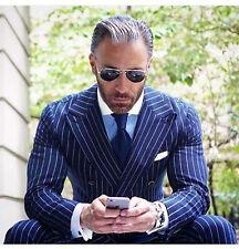Hombre Azul Rayas Trajes Elegante de Diseño Boda Novios Cena (Abrigo+Pantalón)